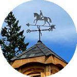 Dressage weathervane on cupola